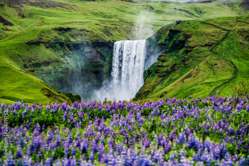 Staande foto Watervallen Beautiful scenery of the majestic Skogafoss Waterfall in countryside of Iceland in summer. Skogafoss waterfall is the top famous natural landmark and tourist destination place of Iceland and Europe.