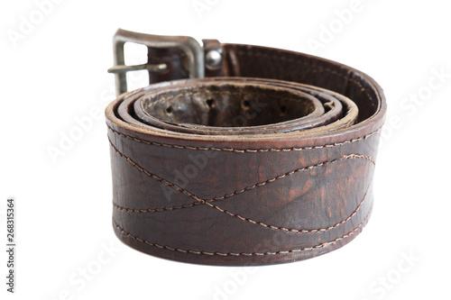 Fényképezés  Brown leather army belt on white background