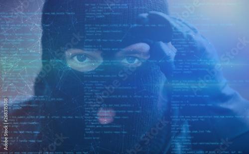 Cuadros en Lienzo  Hacker mit Spyware als Cybercrime Konzept
