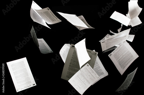 Many flying business documents isolated on black background Tableau sur Toile