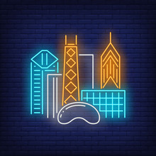 Chicago City Buildings And Cloud Gate Neon Sign. Sightseeing, Tourism, Travel Design. Night Bright Neon Sign, Colorful Billboard, Light Banner. Vector Illustration In Neon Style.