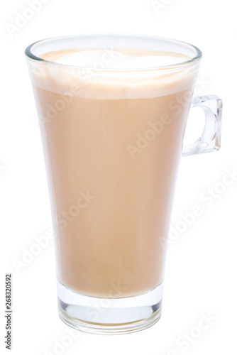 Wall Murals Chocolate glass of fresh atte coffee isolated on white background with clipping path