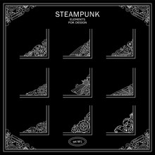 Vector Set Of Square Corners For Frames, Cards, Invitations. Steampunk Mechanical Elements. Hand Drawn Vintage Collection. Wave Elements For Design. Chalkboard Design, Black And White Color