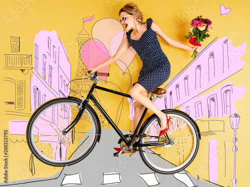 top view of young happy elegant woman with bouquet of roses and bike lying on yellow background with city street illustration