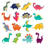 Fototapeta Dino - Funny cartoon dinosaurs collection. Vector illustration