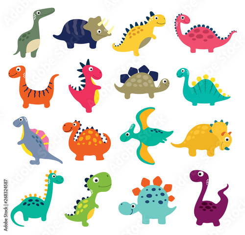 Funny cartoon dinosaurs collection. Vector illustration Wallpaper Mural