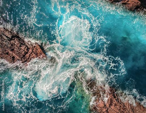 Leinwand Poster Beautiful aerial birds eye view on ocean waves, Fuerteventura