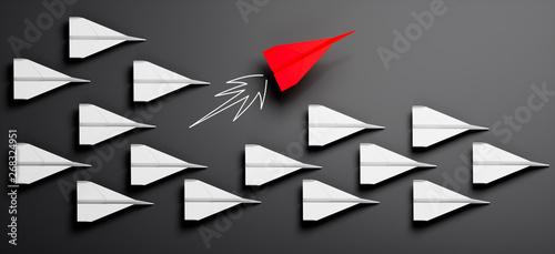 Fényképezés  Gruppe weißer Papierflieger mit rotem Leader 2