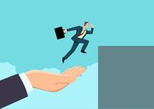 Hand Helping A Businessman To Jump Higher