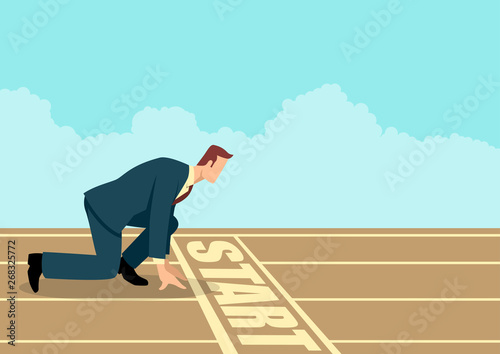 Foto Businessman ready to sprint on starting line