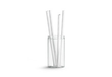 Blank White Paper Straws In Glass Mock Up Isolated, Front View, 3d Rendering. Clear Drink Pipes Mock Up. Clean Transparent Cup For Drink With Striped Tubules. Empty Eco Party Tubes For Cocktails.