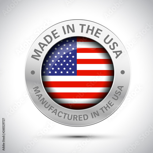 Obraz made in america flag metal icon  - fototapety do salonu