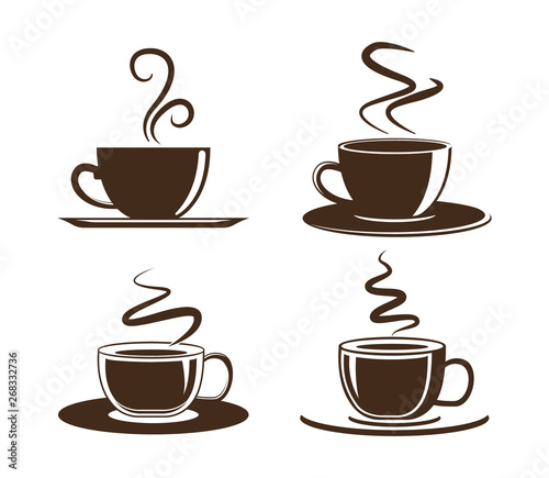 Obraz Coffee cup icon. Set of vector cups with coffee. Coffee cup logo. - fototapety do salonu