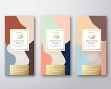 Coffee, Cocoa And Pistachio Chocolate Labels Set. Abstract Vector Packaging Design Layout With Soft Realistic Shadows. Modern Typography, Hand Drawn Beans And Nut Silhouettes And Colorful Background.