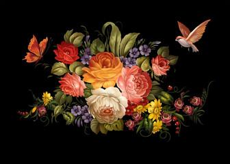 FototapetaPeonies Butterfly Bird Zhostovo flowers roses leaves botany floristics