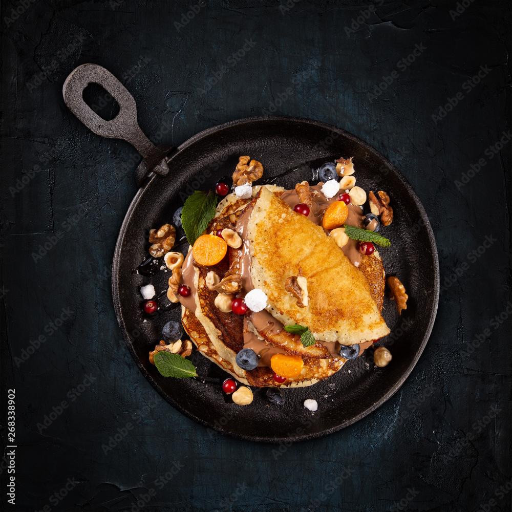 Fototapety, obrazy: Flat lay of pancakes