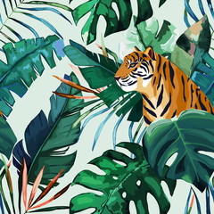 NaklejkaExotic seamless pattern. Tropical leaves and tiger. Vector illustration
