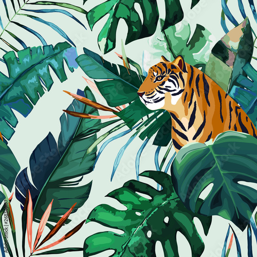 obraz PCV Exotic seamless pattern. Tropical leaves and tiger. Vector illustration