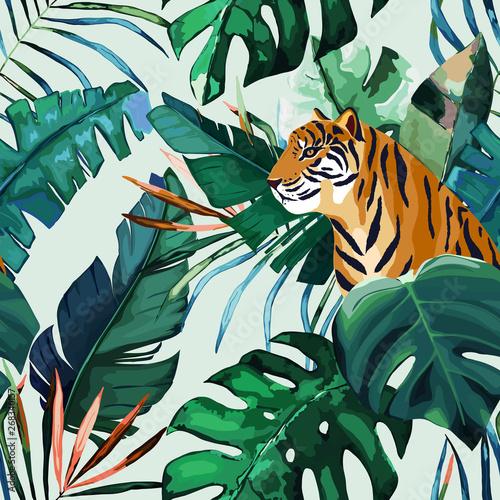 fototapeta na lodówkę Exotic seamless pattern. Tropical leaves and tiger. Vector illustration