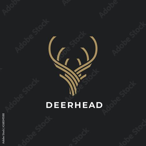 Abstract Deer Head Logo Design. Stylized geometric shape deer logotype. Vector illustration.