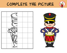 Complete The Picture Of A Military Marching Band's Drummer. Copy The Picture. Coloring Book. Educational Game For Children. Cartoon Vector Illustration