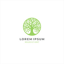Abstract Round Tree Logo Icon. Universal Creative Premium Solid Floral Leaf Symbol. Cosmetic And Spa. Vector Circle Life Tree Icon Sign.