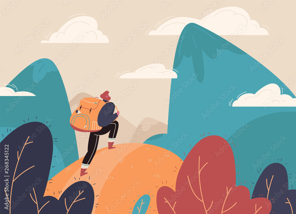Fototapety, obrazy: Traveler with a backpack, bangs with a backpack standing on a mountain peak and looking at the landscape in the distance. Concept of adventure tourism, travel, nature research and nature walks. Vector