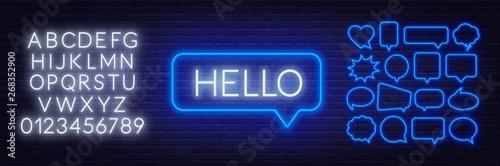 Fotografia, Obraz  Neon sign of word hello in speech bubble frame on dark background