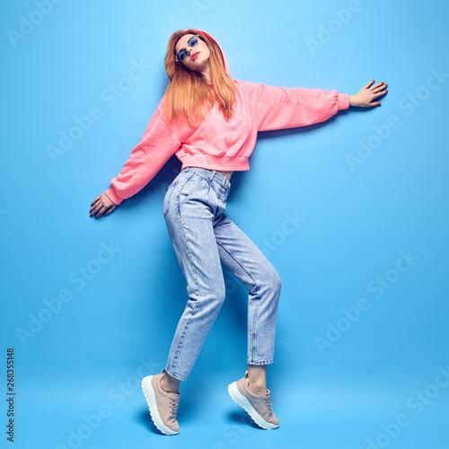 Fashion Young Carefree Hipster Girl Having Fun Beautiful
