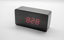 Digital Wooden Clock Isolated ...