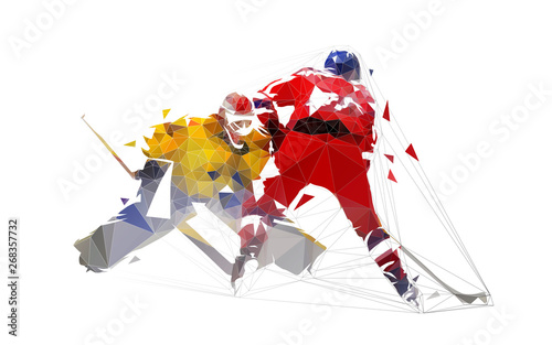 Cuadros en Lienzo Ice hockey player shoots puck, goalie makes save