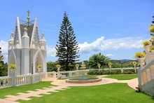 Nakhon Ratchasima, Thailand - May 10, 2019: Outdoor Around The Church Of The Blessed Nicholas Bunkerd Kitbamrung Church Through The Archways In Khao Yai.