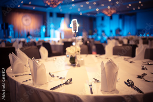 luxury banquet hall in hotel, dinner table for special guests Wallpaper Mural