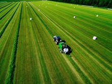 Aerial View Of Tractor Mowing ...