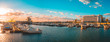 canvas print picture - giant panorama of famouse port at faro, portugal in the evening