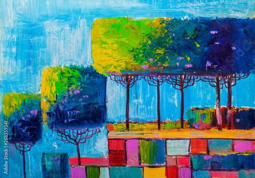 Obraz Abstrakcyjny las - obraz malowany na płótnie - fototapety do salonu