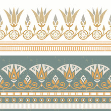 Seamless Vector Illustration Of Egyptian National Ornament With A Lotus Flower On White Background.