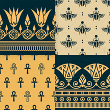Set Of Four A Seamless Vector Illustration Of Egyptian National Ornament With A Lotus Flower, Scarab, Ankh On The Various Background.