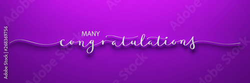 MANY CONGRATULATIONS 3D render of brush calligraphy on pink background Canvas-taulu