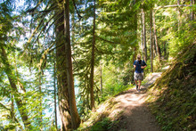 Male Hiker Walking On Trail In Mount Baker Snoqualmie National Forest
