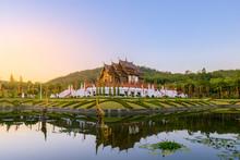 Royal Pavilion (Ho Kum Luang) Lanna Style Pavilion In Royal Flora Rajapruek Park Botanical Garden, Chiang Mai, Thailand.