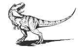 Fototapeta Dinusie - Cool aggressive dinosaur tyrannosaurus rex with open mouth