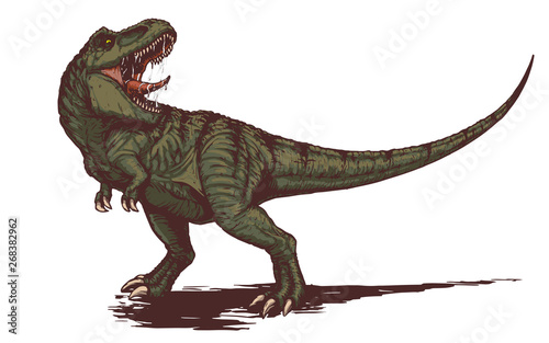 Cool aggressive dinosaur tyrannosaurus rex with open mouth Wallpaper Mural