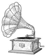 Gramophone Illustration, Drawing, Engraving, Ink, Line Art, Vector