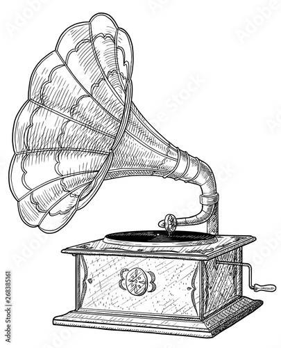 Fotografía Gramophone illustration, drawing, engraving, ink, line art, vector