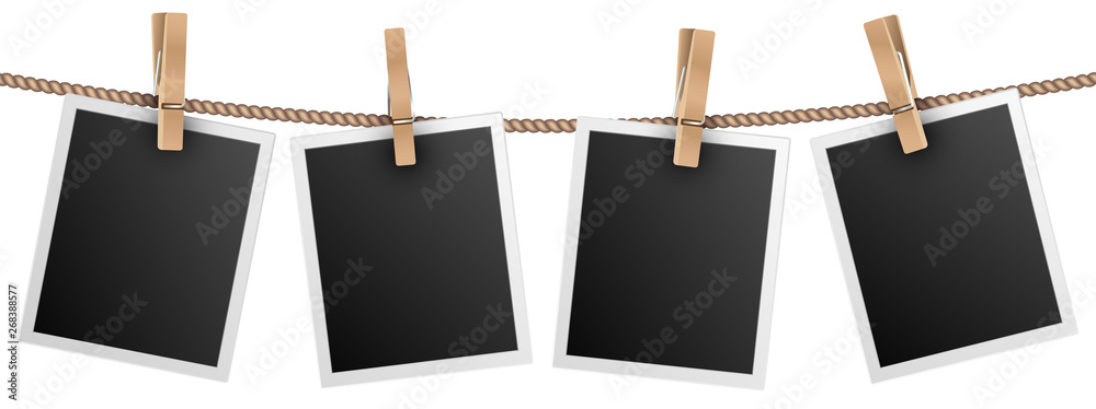 Fototapeta Retro photo frames hanging on rope isolated on white background vector illustration. Photo picture for album, empt photograph