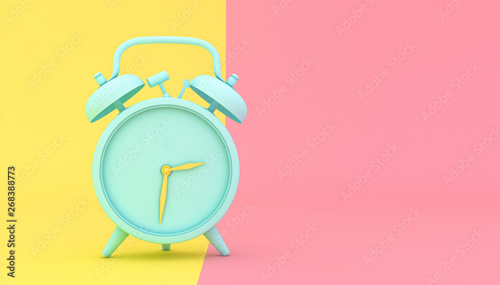 Fototapety, obrazy: stylized alarm clock on a yellow and pink background
