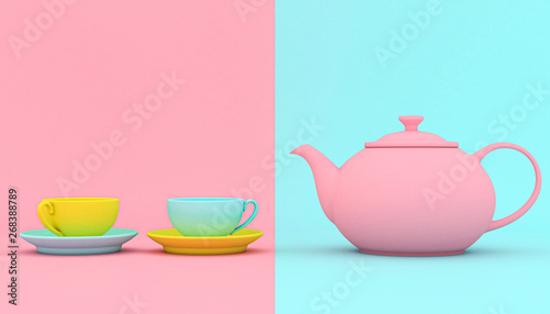 Cuadros en Lienzo stylized teapot with cups background