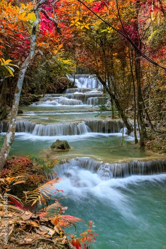Huai Mae Khamin Waterfall tier 1, Khuean Srinagarindra National Park, Kanchanaburi, Thailand - 268391338
