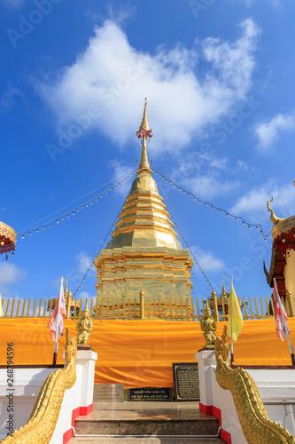 Chiang Mai, Thailand - November 19, 2018: Buddha relic pagoda at Wat